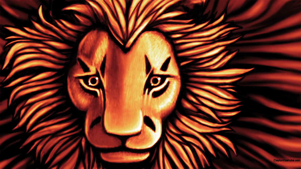 African Lion – Digital Painting by Clayton Kashuba